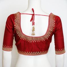 Designer saree blouse with thread embroidery and stone work image 1 Kids Blouse Designs, Hand Work Blouse Design, Simple Blouse Designs, Blouse Simple, Choli Designs, Wedding Saree Blouse Designs, Saree Blouse Neck Designs, Traditional Blouse Designs, Stone Work Blouse