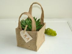 succulent burlap planter pot cover birch bark tags rustic flower girl wedding burlap basket favor gift bags birch bark tag wood clip vases on Etsy, $9.95