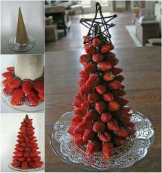 Edible centerpiece from strawberries and chocolate