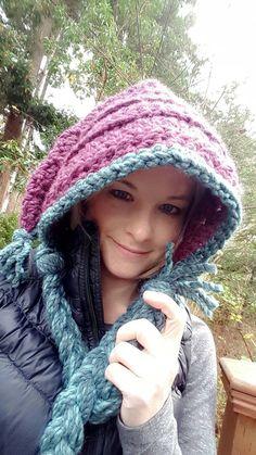Chunky crochet pixi hood, hooded hat, fairy hood, fairy hat, knit pixi hood, colorful elf hat, elven fairy goddess hood, elf hood
