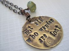 Items similar to not all who wander , hand stamped, brass necklace on Etsy Brass Necklace, Blue Necklace, Dog Tag Necklace, Disc Necklace, Chain Necklaces, My Compass, Thing 1, Hand Stamped Necklace, Great Christmas Gifts
