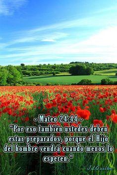 """- Mateo 24:44 - """"Por eso también ustedes deben estar preparados, porque el Hijo del hombre vendrá cuando menos lo esperen."""""""