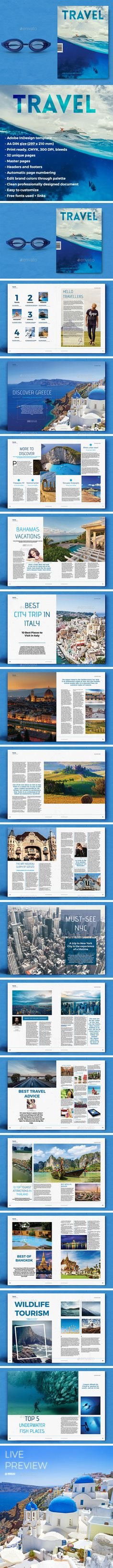 Travel Magazine 32 Pages Template InDesign INDD - Fiverr - an online platform for freelancer. Fiverr is also a great place for you to outsource tasks such as writing making a vide creating a logo. - Travel Magazine 32 Pages Template InDesign INDD Magazine Page Layouts, Mise En Page Magazine, Magazine Layout Design, Page Layout Design, Graphisches Design, Book Layout, Editorial Layout, Editorial Design, Magazine Design Inspiration