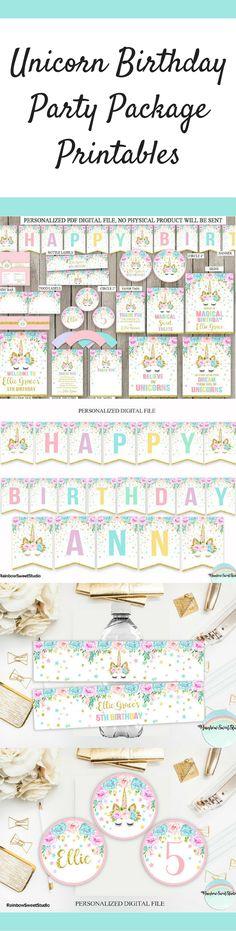 Unicorn Birthday Party Package Printables | Unicorn Birthday Party Supplies | Unicorn Party Printables #ad #birthdayparty #birthdays #partydecor #parties #unicornparty