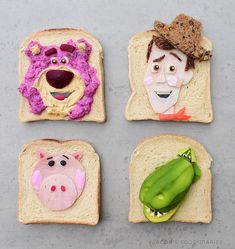 LOTSO, WOODY, HAMM and REX from TOY STORY Spelt toast art by JACOB'S FOOD DIARIES (@jacobs_food_diaries)
