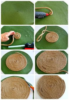 Easy jute placemats that any skill level crafter or entertainer can make.Natural eco friendly jute yarn perfect for knitting or crocheting bags panamas baskets rugs wraping packaging scrapbooking and any craft onenatural jute twine rope cord non poli Jute Crafts, Diy Home Crafts, Diy Crafts To Sell, Sell Diy, Upcycled Crafts, Decor Crafts, Rope Rug, Diy Y Manualidades, Diy Bedroom Decor