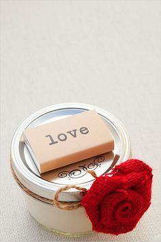 cute diy wedding favors: small mason jar filled w/a candle a book of matches #weddingfavors #weddingfavorcandles