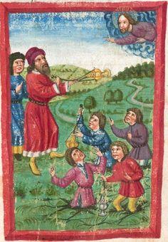 Deutsche Bibel AT, Bd. 1 (Gen. - Reg., Psalter) Furtmeyr, Berthold: Buchmalerei der Renaissance BSB Cgm 502, Regensburg,  um 1463  Folio 56