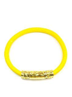 Men's Yellow Stingray Bracelet with Gold Lock Yellow, Bracelets, Gold, Jewelry, Jewlery, Jewerly, Schmuck, Jewels, Jewelery