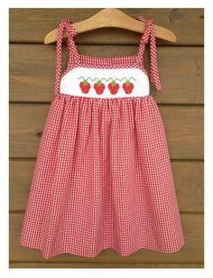 Strawberry Smocked Shoulder Tie Sundress by SouthernSmockedSprou Baby Dress Design, Baby Girl Dress Patterns, Little Girl Dresses, French Baby Clothes, Little Miss Dress, Kids Dress Wear, Baby Frocks Designs, Frocks For Girls, Red Riding Hood Costume Kids