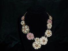 Signed Vintage Miriam Haskell Floral Seed Bead Necklace
