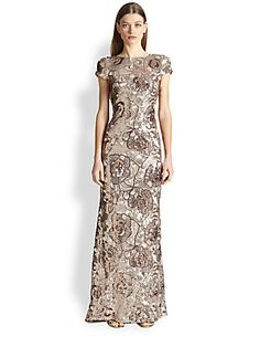 I don't want to spend this much on a dress, but gathering ideas...  Badgley Mischka Floral Sequin Gown $700 at Saks, v-back