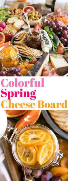 Colorful Spring Cheese Board. Welcome spring with this easy and colorful Spring Cheese Board complete with colorful fruits, yummy cheeses, salty meats, crackers, candied Meyer lemons, chocolate and delicious wines via @theforkedspoon #cheeseboard #springcelebrations #candiedlemons #cheeseplate For this recipe and more visit,https://theforkedspoon.com/ via @theforkedspoon