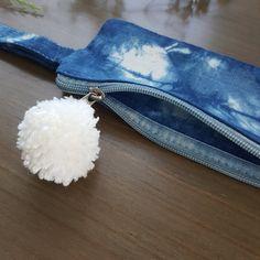 Shibori dyed case with white pom pom   pencil case  by Grafeeq