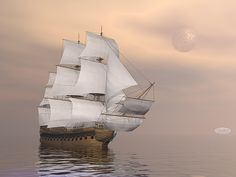 Beautiful old merchant ship sailing on quiet waters under full moon Poster Print Water Poster, Boat Art, Poster Prints, Art Prints, Nautical Art, Fabric Wall Art, Boat Design, Sailing Ships, Fine Art America