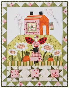 Folk Art Angel Spring Garden wall quilt designed by Arlene Stamper and Melissa Harris
