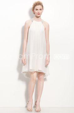 Airy Empire Scoop Neckline Mini-length Beaded Wedding Dresses