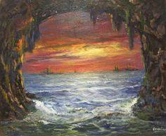 La grutaMarina, cuadro realizado por Camino, pintora del estudio de pintura la magia de Rudi