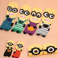 Brand Hay Cotton Women Tube Socks with Cute Minions Despicable Me Printing //Price: $12.00 & FREE Shipping //     #minionrush #minionslove #minionmovie #minionbanana #banana #minionmoments