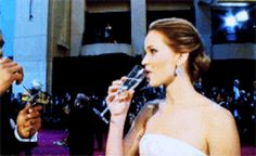 When she necked a glass of champagne like it was no big deal and you were like, Oh my god I need to go on a night out with this girl. | 22 Times Jennifer Lawrence Just Did Not Care What Anyone Thought