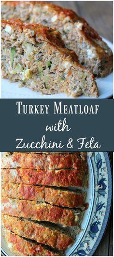 Turkey Meatloaf with Zucchini and Feta. Healthy make-ahead meal prep recipe. #healthydinnerrecipes #mealprep