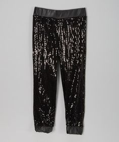 Love this Black Sequin Faux Leather Pants - Toddler & Girls on #zulily! #zulilyfinds