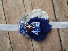 NCAA Brigham Young University  inspired Shabby Flower Rosette headband bow | football | blue white grey | BYU | LDS | Cougs | Cougar by ShopSassyBabes on Etsy https://www.etsy.com/listing/255187730/ncaa-brigham-young-university-inspired