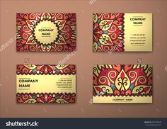 Vector Vintage Visiting Card Set. Floral Mandala Pattern And Ornaments. Oriental Design Layout. Islam, Arabic, Indian, Ottoman Motifs. Front Page And Back Page. - 378148528 : Shutterstock