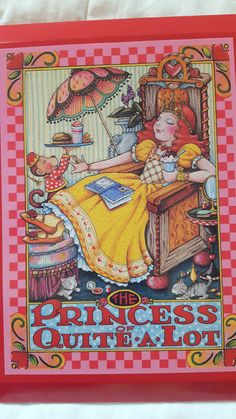 """NEW IN BOX Mary Engelbreit The Princess of Quite A Lot Wood Plaque Red 9"""" x 7"""""""