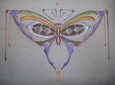 Arts & Crafts Butterfly Motif Pillow by RedlandsRoycrofter, via Flickr Arts And Crafts Box, Summer Arts And Crafts, Arts And Crafts Movement, Sashiko Embroidery, Embroidery Art, Embroidery Designs, Craftsman Style Decor, Art Deco Tattoo, Art Nouveau Design