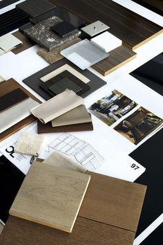 Le dossier complet d'un projet : les matières sélectionnées par Hélène, les dessins d'Olivier, le carnet de tendance soumis dès le second rendez-vous