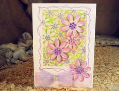 8x6 Decoupaged Lilac Flower Daisy Card Green Pink by 4SeasonCards