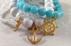 Nautical Beaded Bracelet Stack