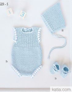 pattern knit crochet set autumn winter katia 6069 54 p Crochet Baby Clothes, Cute Baby Clothes, Baby Romper Pattern, Beginner Crochet Projects, Knitted Romper, Yarn Brands, Baby Sweaters, Baby Knitting Patterns, Knit Crochet