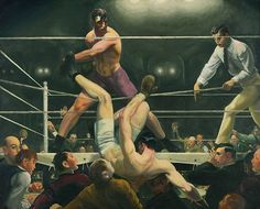 "George Bellows, ""Dempsey and Firpo,"" Whitney Museum of American Art, New York. A dramatic moment caught by the Ashcan artist. This has been called the greatest American sports painting ever. Edward Hopper, American Realism, American Artists, Karate, Cesar Vallejo, Combat Boxe, Ashcan School, Sports Painting, Psicologia"