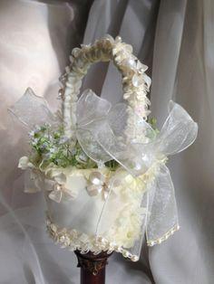 flower girl basket for wedding or beach by TheCrystalFlower, $65.00