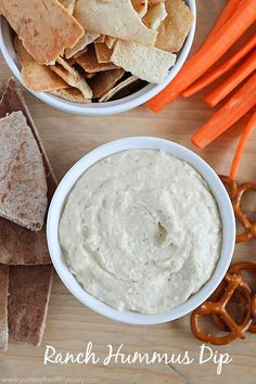 Ranch Hummus Dip | Perfect paired with fresh veggies & pita chips and is FULL of protein and flavor! It's a creamy and delicious dip that takes only 5 minutes to throw together!