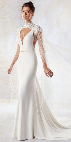 Eye-catching Chiffon & Tulle V-neck Neckline Mermaid Wedding Dress With Beadings & Shawl #weddingdress