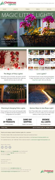 Email Marketing for Christmas Lights, Etc. Hanging Patio Lights, Patio Lighting, Tree Lighting, Shop Lighting, Christmas Lights Etc, Love And Light, Fairy Lights, Email Marketing, How To Find Out