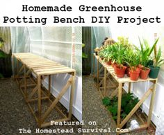 The Homestead Survival | Homemade Greenhouse Potting Bench DIY Project | http://thehomesteadsurvival.com