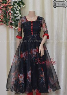 Knee length organza frock call or whatsapp at 09483056990 - - Sleeves Designs For Dresses, Dress Neck Designs, Kurti Neck Designs, Kurti Designs Party Wear, Stylish Dress Designs, Blouse Designs, Girls Frock Design, Long Dress Design, Long Gown Dress