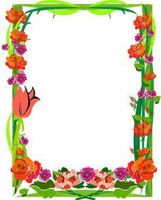 BORDERS FOR KID: DISEÑO GRAFICO PRIMAVERA DE LA VIDA Butterfly Frame, Butterfly Design, Flower Frame, Boarder Designs, Page Borders Design, Muslim Greeting, Printable Border, Art Bulletin Boards, Boarders And Frames