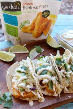 Need an easy idea for dinner tonight? Fish Tacos with Creamy Avocado Salsa Verde Sauce.