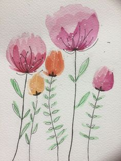 watercolor painting + line drawing flowers, florals, leaves, foliage Watercolor Pencil Art, Watercolor Painting Techniques, Watercolor And Ink, Watercolour Painting, Watercolor Flowers, Painting & Drawing, Watercolours, Drawing Flowers, Art Drawings