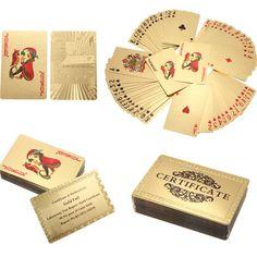새로운 24 천개 캐럿 골드 포일 도금 포커 게임 카드 선물 컬렉션 + 인증서