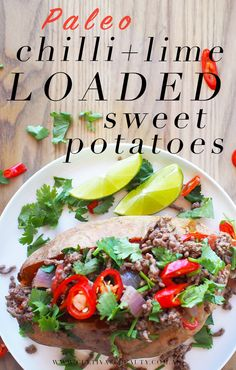 We love this recipe for a fresh spin on the classic meat + veg. Super healthy, easy to make AND makes a great packed lunch for school or work. paleo lunch on the go Loaded Sweet Potato, Sweet Potato Recipes, Low Calorie Recipes, Healthy Recipes, Paleo Meals, Vegetarian Meals, Lunch Recipes, Healthy Meals, Delicious Recipes