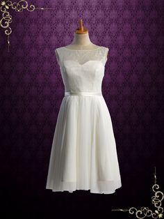 Knee Length Vintage Style Lace Wedding Dress | Liz