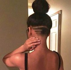 back shaved hair Undercut Long Hair, Undercut Women, Female Undercut, Undercut Hairstyles Women, Updo Hairstyle, Prom Hairstyles, Nape Undercut Designs, Curly Hair Styles, Natural Hair Styles