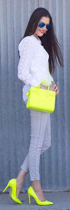 Saint Laurent Neon Yellow Small Cross Body Bag by Pink Peonies