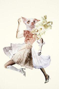 Deborah Kelly Her ritual right handmade collage on Italian cotton x cm (unframed) from the Beastess series